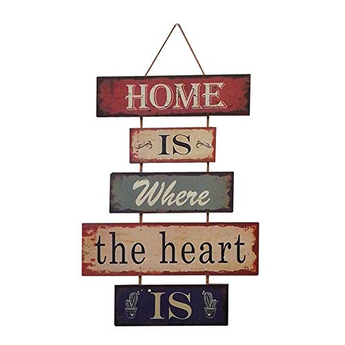 HUABEI Cartel Vintage de Madera para colgar al pared-HOME IS WHERE THE HEART IS