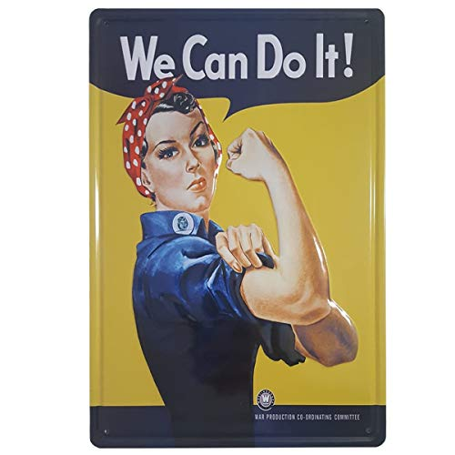 BOEMY Chapa Feminista We Can Do It | Poster Vintage Metálico con Relieve y...