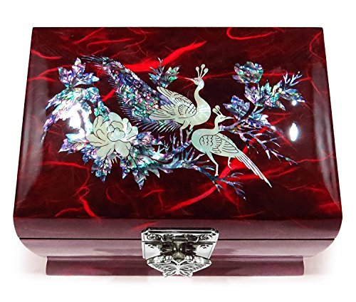 (Peacock Red) - Music Box Jewellery Ring Organiser Wood Mother of Pearl Inlay...