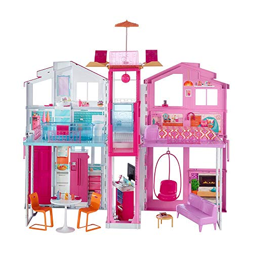 Barbie DLY32 ESTATE Three-Story Town House Colourful and Bright Doll House Comes...
